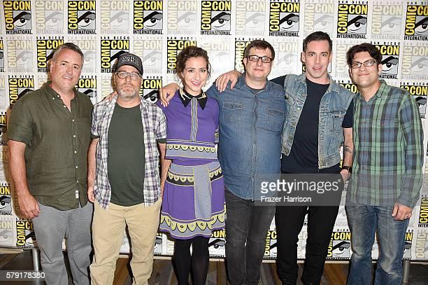 Actors Larry Murphy H Jon Benjamin Kristen Schaal Eugene Mirman John Roberts and Dan Mintz attend Bob's Burgers Press Line during ComicCon...
