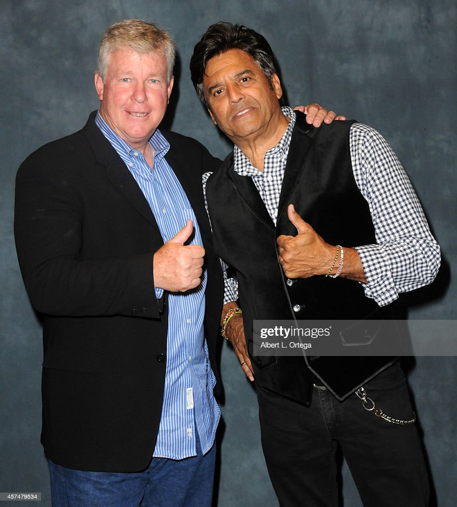 Actors Larry Wilcox and Erik Estrada from 'Chips' at The Hollywood Show held at Westin LAX Hotel on October 18, 2014 in Los Angeles, California.