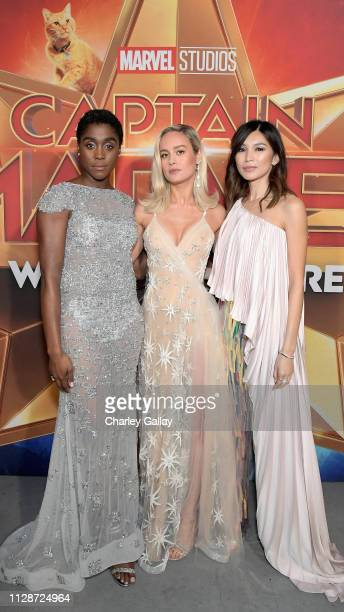 Actors Lashana Lynch Brie Larson and Gemma Chan attend the Los Angeles World Premiere of Marvel Studios' Captain Marvel at Dolby Theatre on March 4...