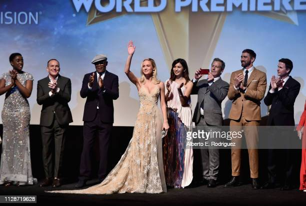 Actors Lashana Lynch Clark Gregg Samuel L Jackson Brie Larson Gemma Chan Ben Mendelsohn and Lee Pace and director/writer Ryan Fleck attend the Los...