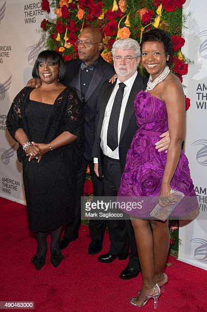 Actors LaTanya Richardson Samuel L Jackson Mellody Hobson and Director George Lucas attend the 2015 American Theatre Wing's Gala at The Plaza Hotel...