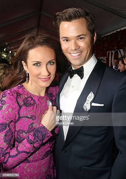 Actors Laura Benanti and Andrew Rannells attend the 70th Annual Tony Awards Arrivals at Beacon Theatre on June 12 2016 in New York City