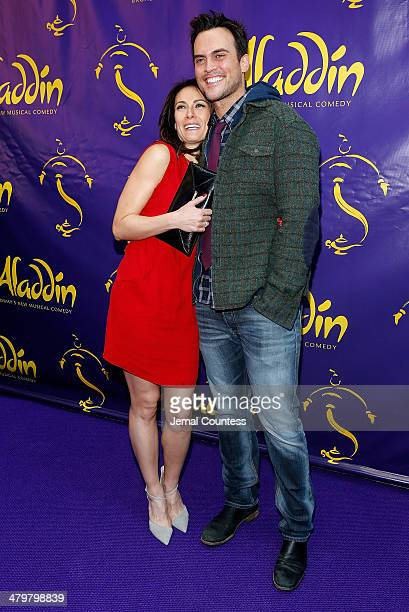 Actors Laura Benanti and Cheyenne Jackson attend the Aladdin On Broadway Opening Night at New Amsterdam Theatre on March 20 2014 in New York City