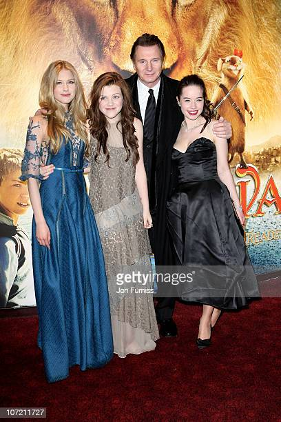Actors Laura Brent Georgie Henley Liam Neeson and Anna Popplewell attend The Chronicles Of Narnia The Voyage Of The Dawn Treader Royal Film...