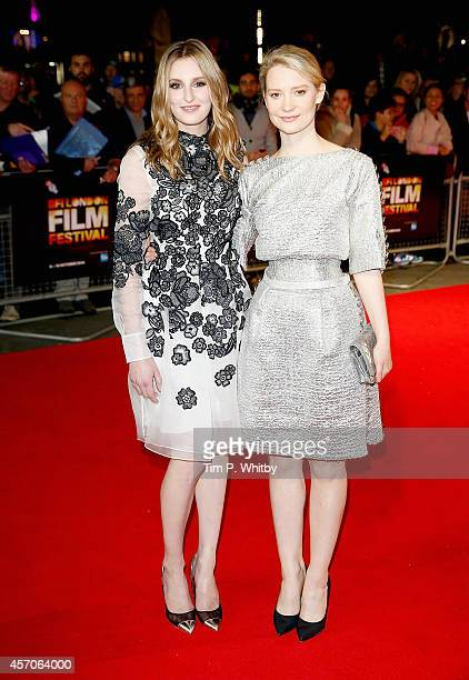 """Actors Laura Carmichael and Mia Wasikowska attend the red carpet arrivals of """"Madame Bovary"""" during the 58th BFI London Film Festival at Odeon West..."""