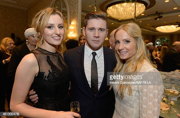 Actors Laura Carmichael in Mulberry Allen Leech in Mulberry and Joanne Froggatt attend the BAFTA Los Angeles Tea Party at The Four Seasons Hotel Los...