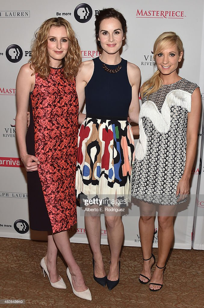 Actors Laura Carmichael, Michelle Dockery and Joanne Froggatt attend the 2014 Summer TCA Tour 'Downton Abbey' Season 5 photocall at The Beverly Hilton Hotel on July 22, 2014 in Beverly Hills, California.