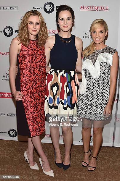 """Actors Laura Carmichael, Michelle Dockery and Joanne Froggatt attend the 2014 Summer TCA Tour """"Downton Abbey"""" Season 5 photocall at The Beverly..."""