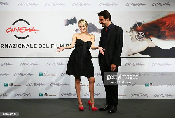 Actors Laura Chiatti and Alessandro Preziosi attend the 'Il Volto Di Un'Altra' Photocall during the 7th Rome Film Festival at the Auditorium Parco...