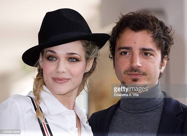 Actors Laura Chiatti and Nicolas Vaporidis attend 'Iago' photocall at Adriano Cinema on February 23 2009 in Rome Italy