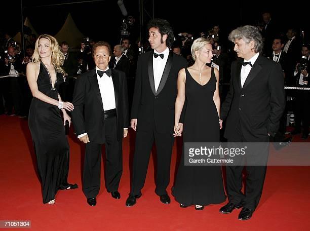 Actors Laura Chiatti Giacomo Rizzo Paolo Sorrentino an unidentified guest and Fabrizio Bentivoglio attend the 'L'Amico Di Famiglia' premiere during...