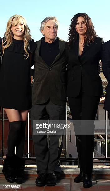 Actors Laura Chiatti Robert De Niro and Monica Bellucci attend 'Manuale d'Amore 3' official presentation of movie cast at De Russie Hotel on October...