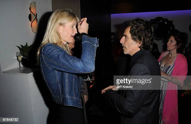 Actors Laura Dern and Ben Stiller attend the after party for the premiere of 'Greenberg' presented by Focus Features at La Vida on March 18 2010 in...