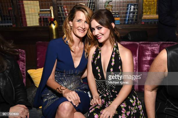 Actors Laura Dern and Billie Lourd attend Moet Chandon celebrates the 3rd annual Moet Moment Film Festival and kicks off Golden Globes week at Poppy...