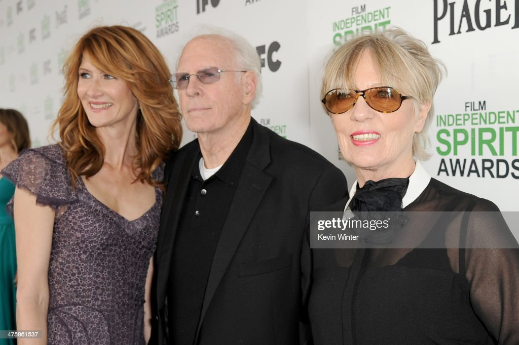 Actors Laura Dern and Bruce Dern, and his wife Andrea Beckett attend the 2014 Film Independent Spirit Awards at Santa Monica Beach on March 1, 2014 in Santa Monica, California.