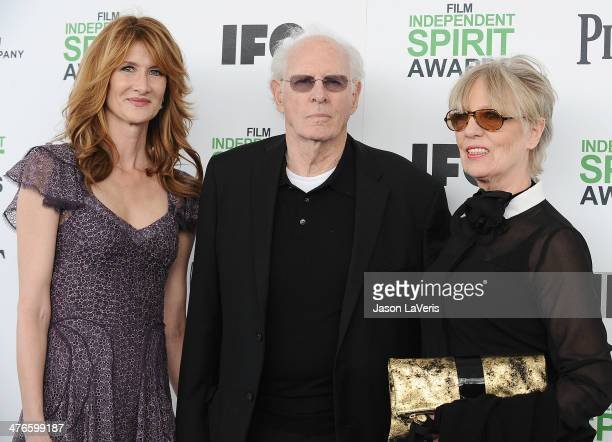 Actors Laura Dern and Bruce Dern and his wife Andrea Beckett attend the 2014 Film Independent Spirit Awards on March 1 2014 in Santa Monica California