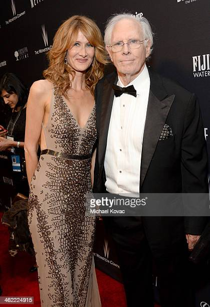 Actors Laura Dern and Bruce Dern attend the Moet Chandon at The Weinstein Company's 2014 Golden Globe Awards After Party on January 12 2014 in Los...