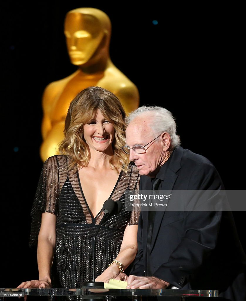 Actors Laura Dern (L) and Bruce Dern speak on stage during the Academy of Motion Picture Arts and Sciences' 8th annual Governors Awards at The Ray Dolby Ballroom at Hollywood & Highland Center on November 12, 2016 in Hollywood, California.