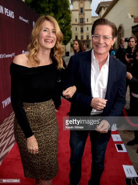 Actors Laura Dern and Kyle MacLachlin attend the For Your Consideration event for Showtime's Twin Peaks at Paramount Studios on May 2 2018 in Los...