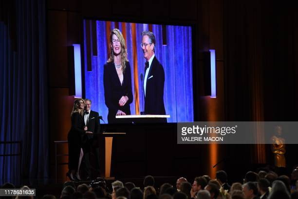 Actors Laura Dern and Kyle McLachlan speak onstage at the 11th Annual Governors Awards gala hosted by the Academy of Motion Picture Arts and Sciences...