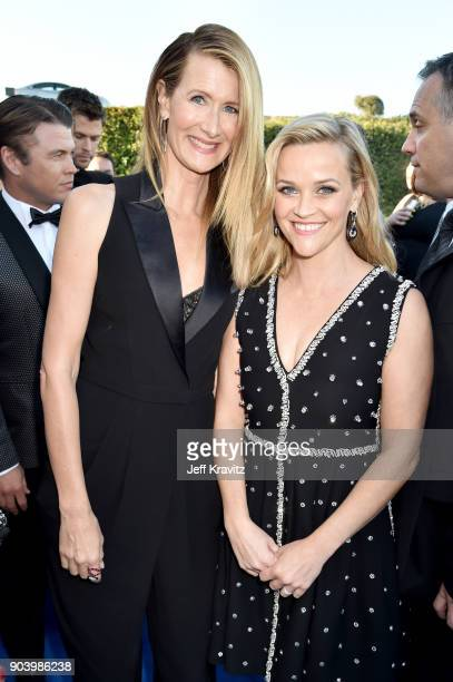 Actors Laura Dern and Reese Witherspoon attend The 23rd Annual Critics' Choice Awards at Barker Hangar on January 11 2018 in Santa Monica California
