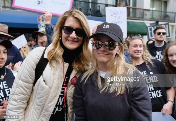 Actors Laura Dern and Reese Witherspoon participate in the March for Our Lives Los Angeles rally on March 24 2018 in Los Angeles California More than...
