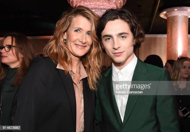 Actors Laura Dern and Timothee Chalamet attend the 90th Annual Academy Awards Nominee Luncheon at The Beverly Hilton Hotel on February 5 2018 in...