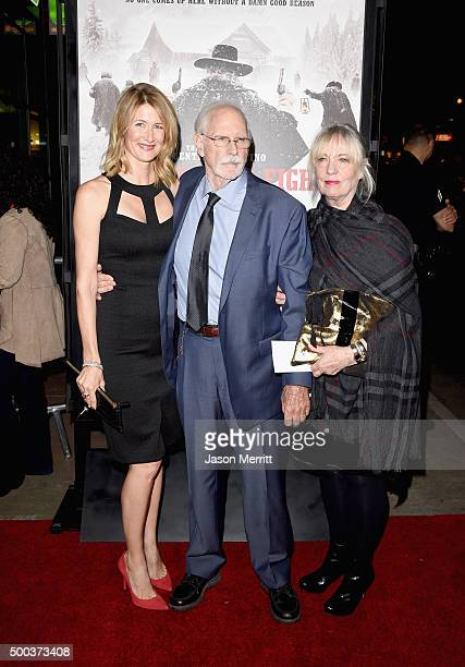 Actors Laura Dern Bruce Dern and Andrea Beckett attend the Premiere of The Weinstein Company's The Hateful Eight at ArcLight Cinemas Cinerama Dome on...