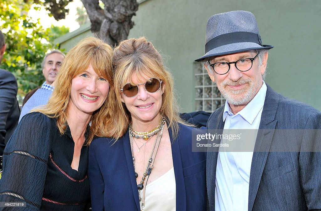 Actors Laura Dern, Kate Capshaw and director Steven Spielberg attend the first annual Poetic Justice Fundraiser for the Coalition For Engaged Education at the Herb Alpert Educational Village on May 28, 2014 in Santa Monica, California.
