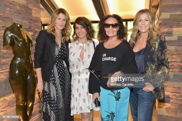 Actors Laura Dern Nia Vardalos host Diane von Furstenberg and actor Rita Wilson attend the DVF Oscar Luncheon honoring the female nominees of the...