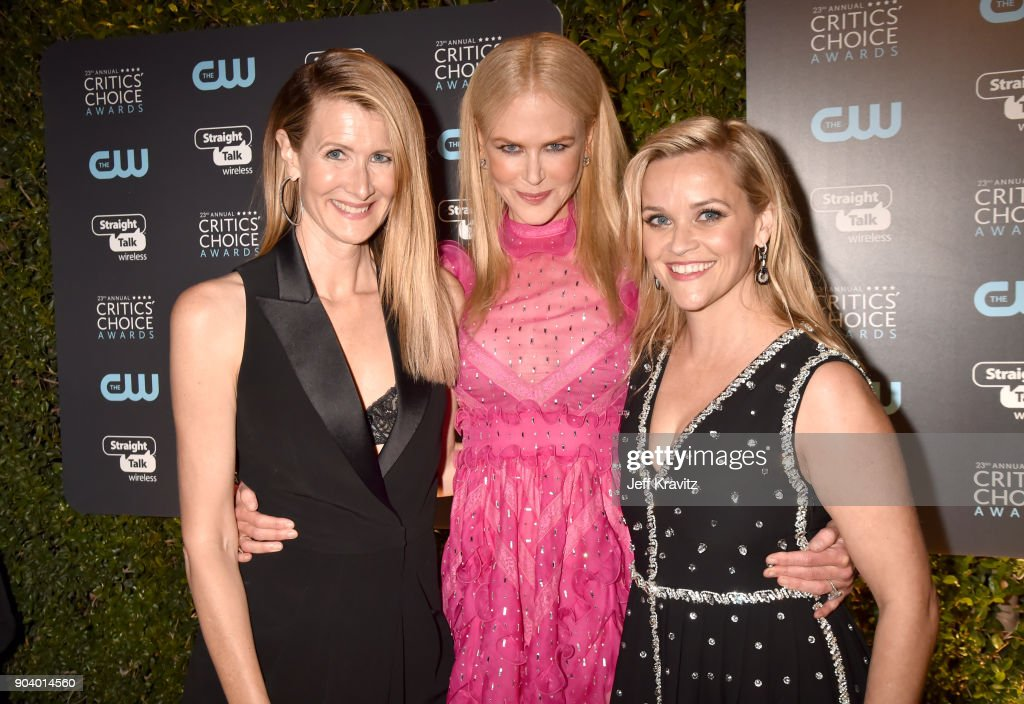 Actors Laura Dern (L), Nicole Kidman, and Reese Witherspoon attend The 23rd Annual Critics' Choice Awards at Barker Hangar on January 11, 2018 in Santa Monica, California.