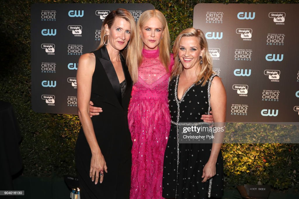 Actors Laura Dern, Nicole Kidman and Reese Witherspoon attend The 23rd Annual Critics' Choice Awards at Barker Hangar on January 11, 2018 in Santa Monica, California.