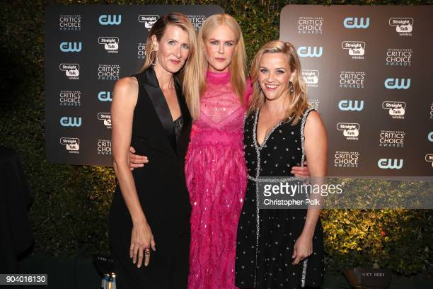 Actors Laura Dern Nicole Kidman and Reese Witherspoon attend The 23rd Annual Critics' Choice Awards at Barker Hangar on January 11 2018 in Santa...