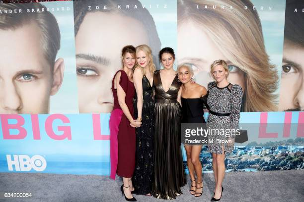 Actors Laura Dern Nicole Kidman Shailene Woodley Zoe Kravitz and Reese Witherspoon attend the premiere of HBO's Big Little Lies at TCL Chinese...