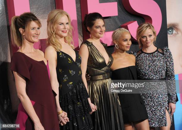 Actors Laura Dern Nicole Kidman Shailene Woodley Zoe Kravitz and Reese Witherspoon arrive at the premiere of HBO's 'Big Little Lies' at TCL Chinese...