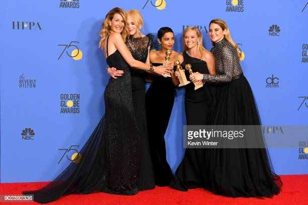 Actors Laura Dern, Nicole Kidman, Zoe Kravitz, Reese Witherspoon and Shailene Woodley pose with the Best Television Limited Series or Motion Picture...