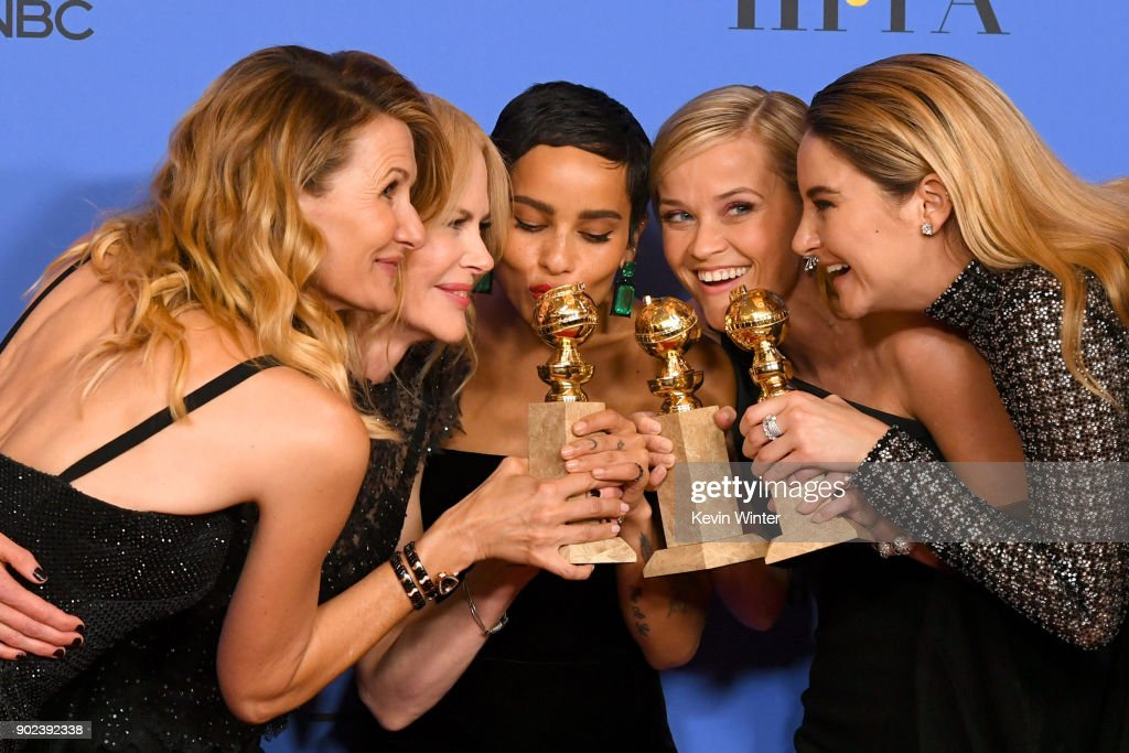 Actors Laura Dern, Nicole Kidman, Zoe Kravitz, Reese Witherspoon and Shailene Woodley pose with the Best Television Limited Series or Motion Picture Made for Television award for 'Big Little Lies' in the press room during The 75th Annual Golden Globe Awards at The Beverly Hilton Hotel on January 7, 2018 in Beverly Hills, California.