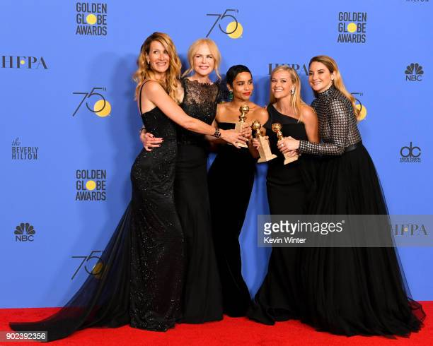 Actors Laura Dern Nicole Kidman Zoe Kravitz Reese Witherspoon and Shailene Woodley pose with the Best Television Limited Series or Motion Picture...