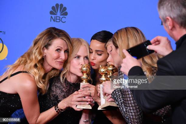 Actors Laura Dern Nicole Kidman Zoe Kravitz Reese Witherspoon and Shailene Woodley of 'Big Little Lies' winner of the award for Best Television...
