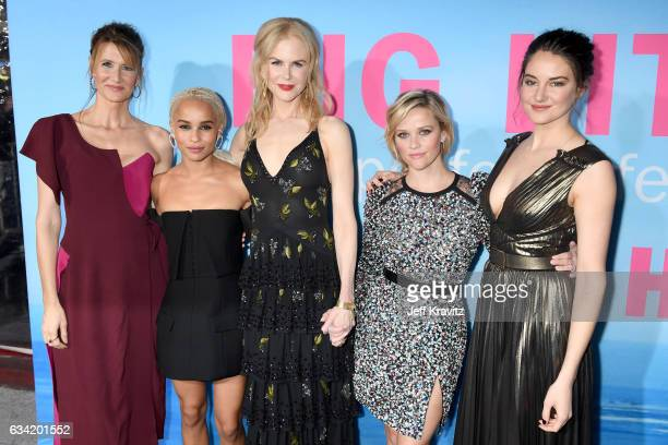 Actors Laura Dern Zoe Kravitz Nicole Kidman Reese Witherspoon and Shailene Woodley attend the premiere of HBO's 'Big Little Lies' at the TCL Chinese...