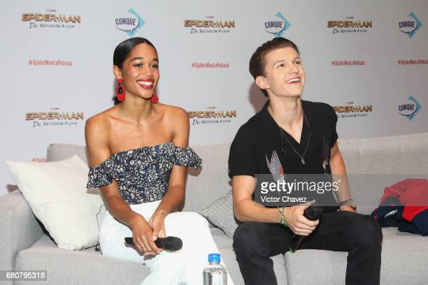 Actors Laura Harrier and Tom Holland attend CONQUE to promote the new film SpiderMan Homecoming at Centro De Congresos De Queretaro on May 6 2017 in...