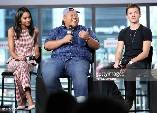 Actors Laura Harrier Jacob Batalon and Tom Holland discuss SpiderMan Homecoming at Build Studio on June 26 2017 in New York City