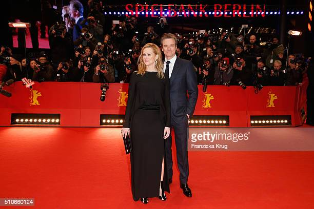 Actors Laura Linney and Colin Firth attend the 'Genius' premiere during the 66th Berlinale International Film Festival Berlin at Berlinale Palace on...