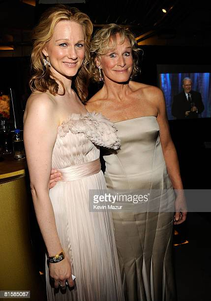 Actors Laura Linney and Glenn Close pose backstage during the 62nd Annual Tony Awards at Radio City Music Hall on June 15 2008 in New York City