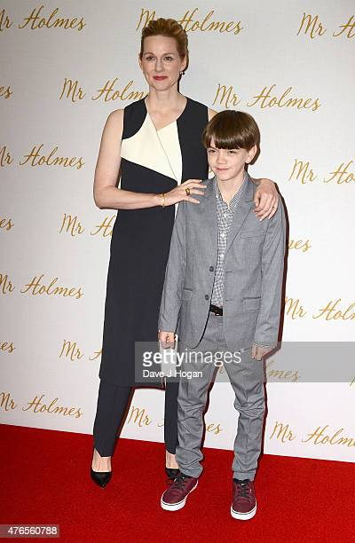 Actors Laura Linney and Milo Parker attend the UK Premiere of Mr Holmes at the Odeon Kensington on June 10 2015 in London England