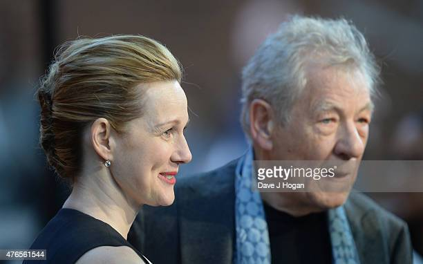 Actors Laura Linney and Sir Ian McKellen attend the UK Premiere of Mr Holmes at the Odeon Kensington on June 10 2015 in London England