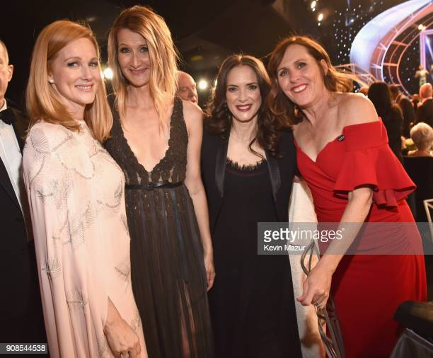 Actors Laura Linney Laura Dern Winona Ryder and Molly Shannon pose during the 24th Annual Screen Actors Guild Awards at The Shrine Auditorium on...