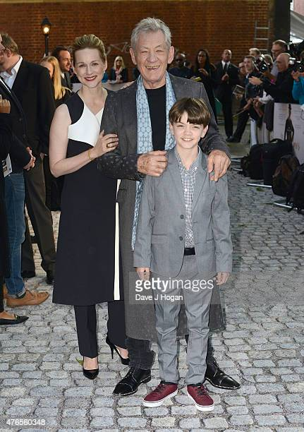 Actors Laura Linney Sir Ian McKellen and Milo Parker attend the UK Premiere of Mr Holmes at the Odeon Kensington on June 10 2015 in London England