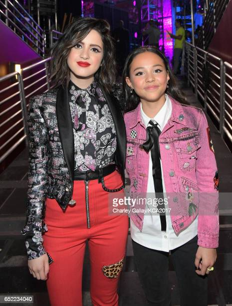 Actors Laura Marano and Breanna Yde in the green room at Nickelodeon's 2017 Kids' Choice Awards at USC Galen Center on March 11 2017 in Los Angeles...