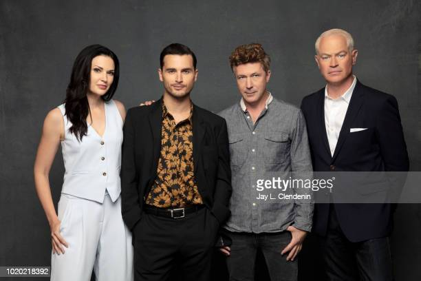 Actors Laura Mennell Michael Malarkey Aidan Gillen and Neal McDonough from 'Project Blue Book' are photographed for Los Angeles Times on July 21 2018...